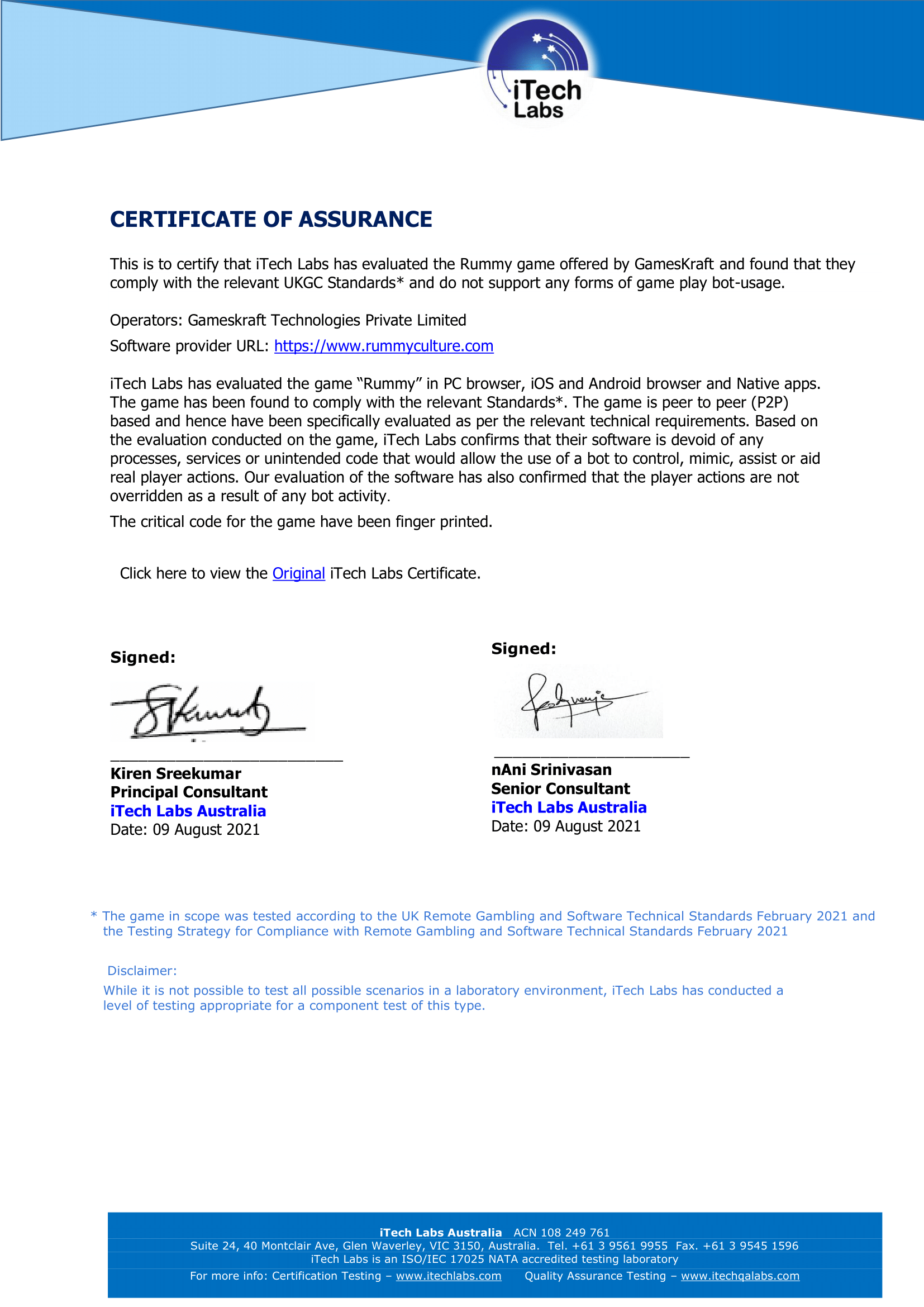 Rummyculture No Bot certificate