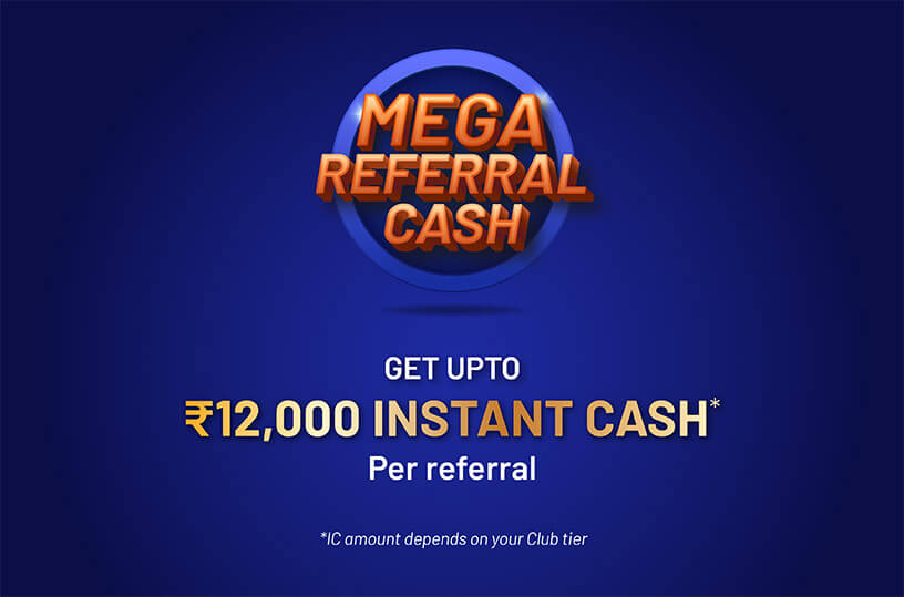 Mega Referral bonus for online rummy players