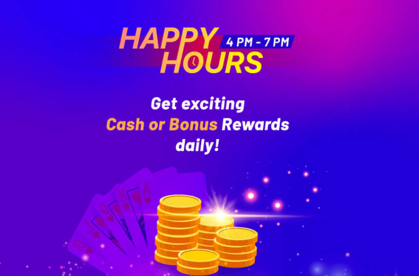Daily happy hour offers for online rummy players
