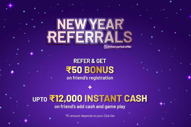 Referral bonus for online rummy players